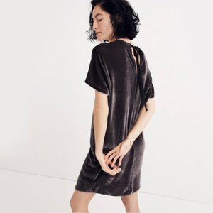 Madewell Velvet Bow Back Shift Dress XS